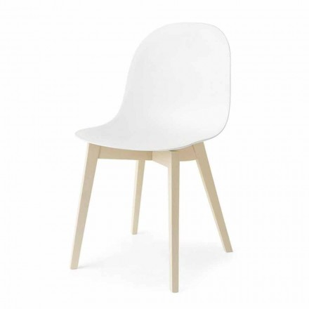Cadeira Academia Connubia Calligaris com base de madeira maciça, conjunto de 2