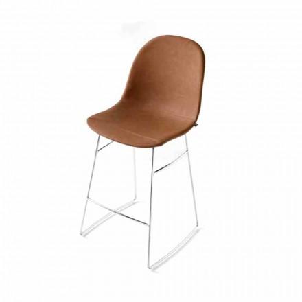 Banco Connubia Calligaris Academy, assento vintage de imitação de couro, conjunto de 2