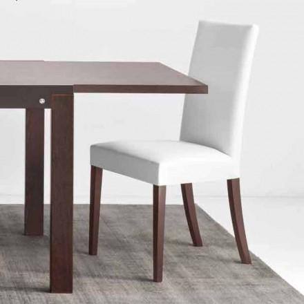 Cadeira de madeira e imitação de pele Connubia Calligaris Copenhagen, conjunto de 2