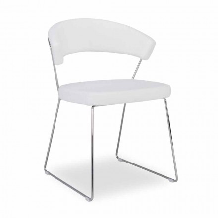 Cadeira Connubia Calligaris New York, conjunto de 2, com assento de couro
