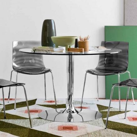 Mesa de vidro redonda Connubia Calligaris Planet, design moderno, Ø 120 cm