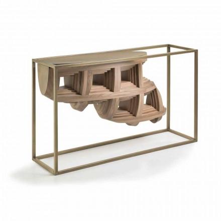 Mesa de console design de luxo Pardo em madeira maciça de nogueira e metal