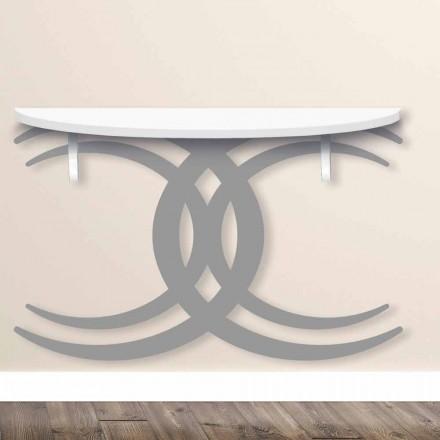 Console de parede para design moderno em madeira branca e cinza - Coco