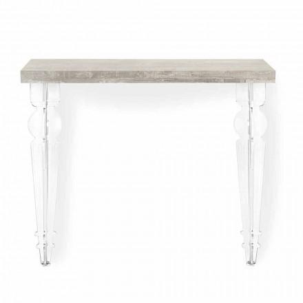 Tampo para console de parede em cinza, branco ou madeira corten e acrílico - Leopardi