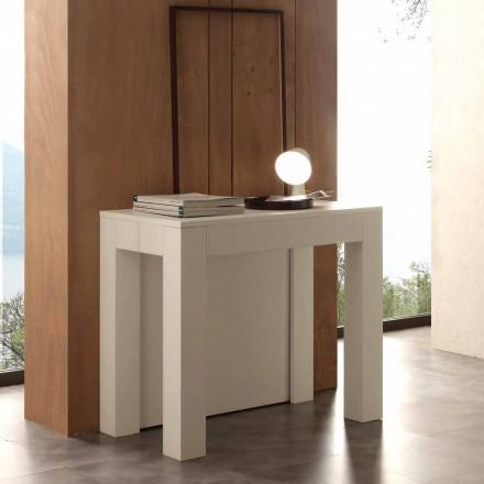 Mesa de console extensível Bosa, acabamento de poro aberto branco