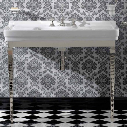 Console de banheiro de cerâmica branca vintage de 105 cm com pés, fabricado em Itália - Marwa