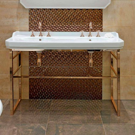 Consola de banho L 135 cm com lavatório duplo em cerâmica com pés - Nausica