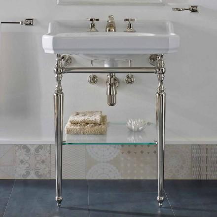 Console de banheiro de 65 cm de cerâmica com pés de metal fabricado na Itália Nausica