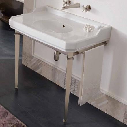 Console de banheiro vintage de 90 cm, em cerâmica branca, com pés fabricados na Itália - Nausica