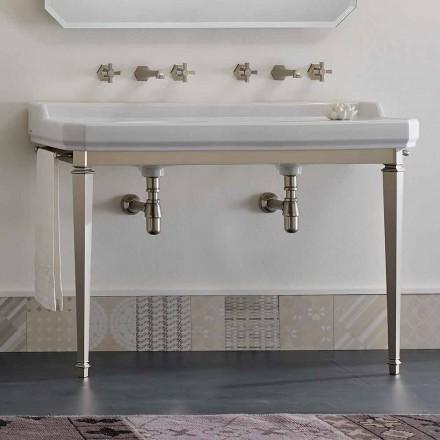 Consola de banho L 135 cm com lavatório duplo em cerâmica Made in Italy - Nausica