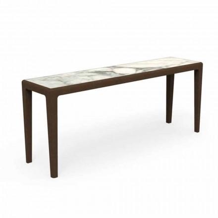 Console ao ar livre moderno em madeira de teca e grés de Capraia - Cruise Teak Talenti