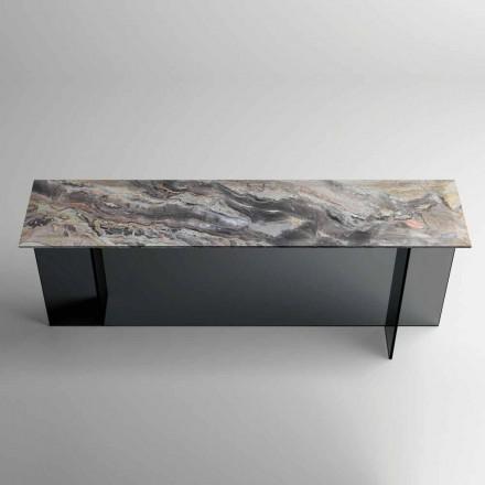 Design Console com tampo de mármore e base de vidro Made in Italy - Molino