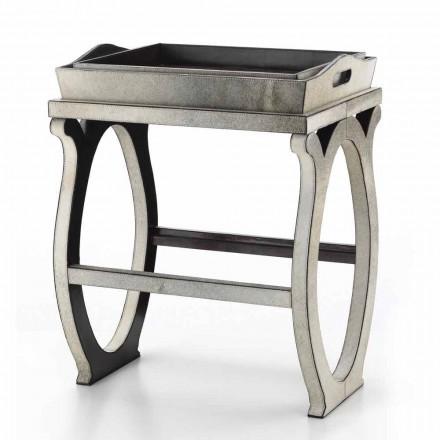 Console de design moderno com bandeja em couro de pônei cinza de Felicia