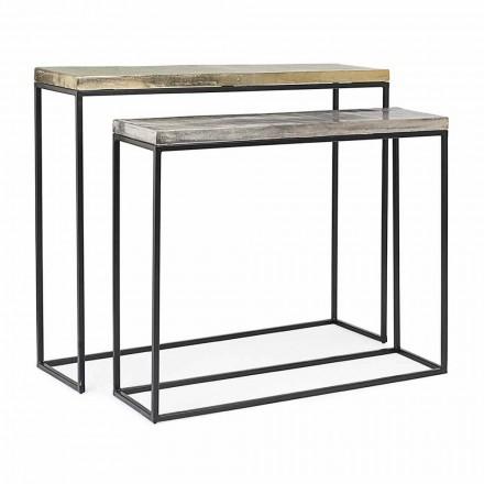 Console Minimal Design Industrial in Steel 2 Pieces Homemotion - Rambutan
