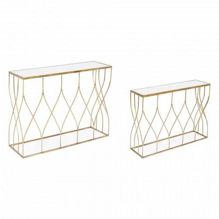 Console Elegante em Aço e Vidro de Design Moderno e Glamour 2 Peças - Irene