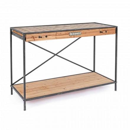 Display do console em madeira de pinho e vidro, estilo industrial - Frigerio