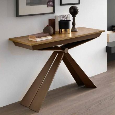 Consola de mesa em madeira e metal extensível até 295 cm Fabricado na Itália - Timedio