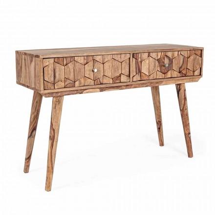 Sheesham Wood Console com Duas Gavetas Ethnic Design Homemotion - Fregene