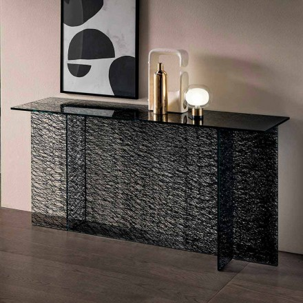 Consolle de entrada de design em vidro extraclear decorado fabricado na Itália - Sestola