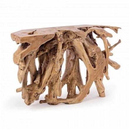 Console de projeto técnico com raízes naturais de teca - alfarroba