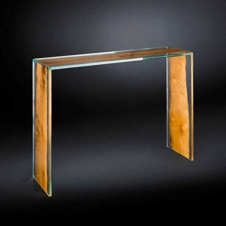 Mesa de console design moderno Venezia, vidro e madeira