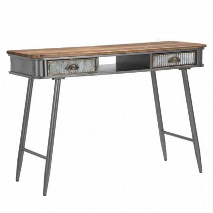 Design industrial retangular para console de ferro e madeira - Ermo