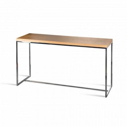 Mesa de console retangular Flora, feita na Itália, madeira e metal