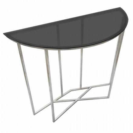 Semicírculo consolador de estilo moderno em ferro e vidro - Augusta