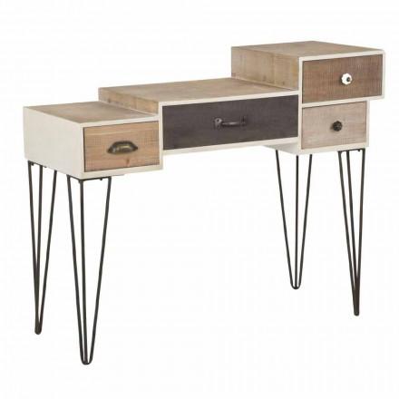 Console com gavetas estilo industrial moderno em madeira e metal - Lille