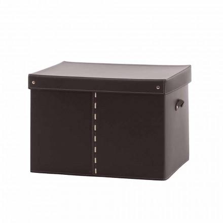 Moderna caixa de armazenamento em couro regenerado fabricado na Itália - Gabry