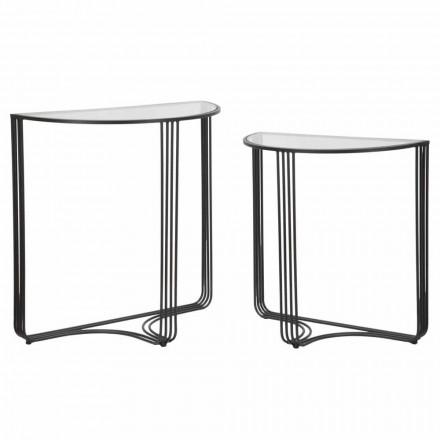 Par de consoles de design moderno em ferro e vidro - Ferdie