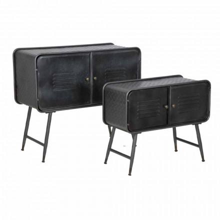 Par de aparadores industriais de estilo vintage para sala de estar em ferro - Cuna