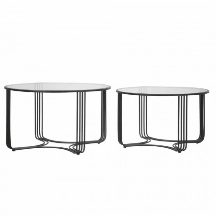 Par de mesas de centro baixas redondas modernas em vidro e ferro - Mirna