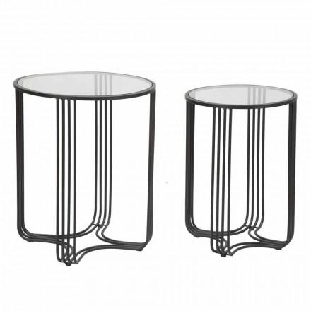 Par de mesas de centro redondas em vidro e ferro Design moderno - Ezra