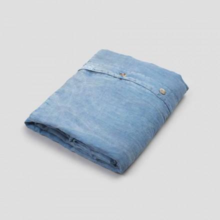 Capa de edredon dupla de linho azul claro com botões e plana - Ljuba