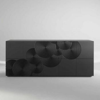 10 slatted sideboard Ardósia, design moderno, branco, preto ou dourado