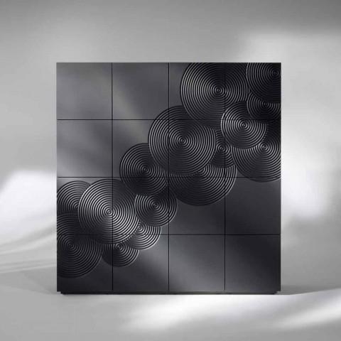 Aparador com 16 slats de design moderno Ardósia, branco, preto ou dourado