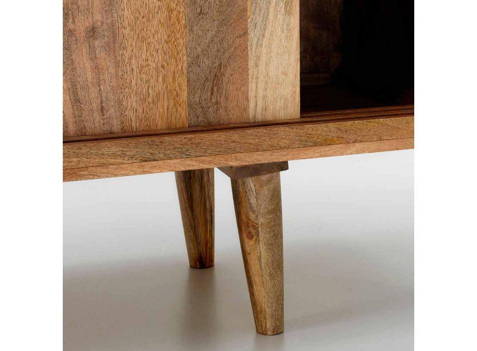 Aparador com duas portas de correr de design em madeira de manga, Cepagatti
