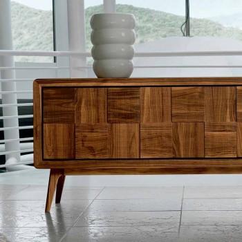 Aparador Nensi com 3 portas em madeira de nogueira maciça de design moderno