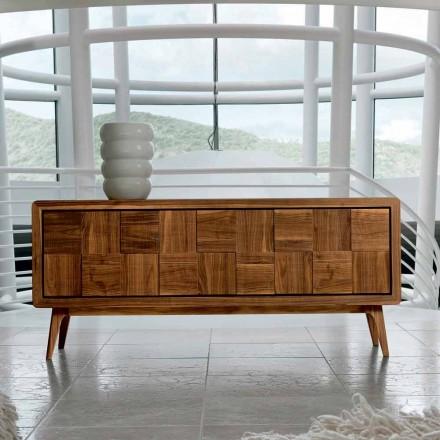 Aparador moderno Nensi com 3 portas em madeira maciça, fabricado na Itália