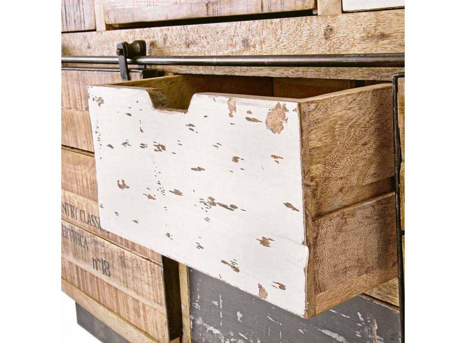 Aparador com Estrutura em Madeira de Manga e Aço no Estilo Industrial - Vidia