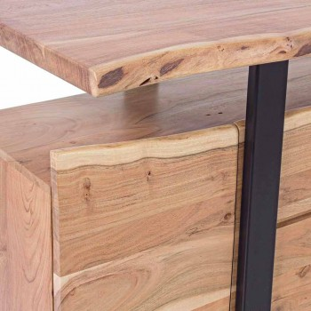 Aparador Design em Madeira Acácia e Aço Pintado Homemotion - Lanza