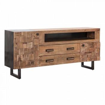 Aparador design em madeira de acácia e ferro com 2 portas e 2 gavetas - Dalya