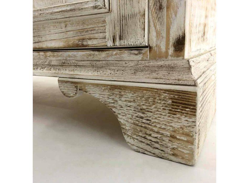 Aparador de madeira maciça de abeto com prateleiras internas Made in Italy - Pierrot