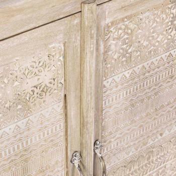 Aparador em madeira de manga com decorações embutidas à mão - Zotto