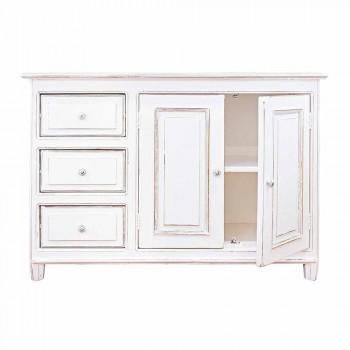 Aparador em estilo rústico de madeira maciça de manga pintada de branco - Renga