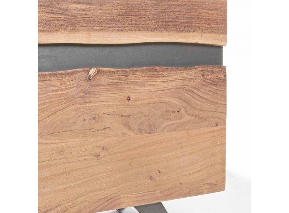 Aparador em Madeira e Aço Pintado Design Moderno Homemotion - Silvia