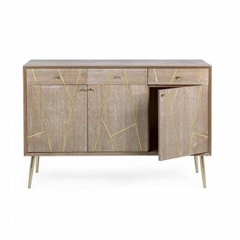 Aparador em madeira teca com inserções de aço dourado estilo vintage - Mayra