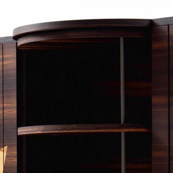 Buffet 3 portas moderno Grilli Zarafa em madeira de nogueira e ébano