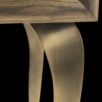 Aparador moderno com 2 portas em madeira maciça e couro Joy aniline